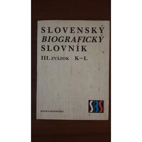 Slovenský biografický slovník III. zväzok K-L