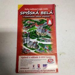 Mapa - Spišská Belá s historickou cestou mestom